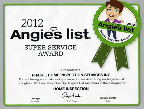 2012 Angies List Super Service Award